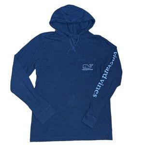 Vineyard Vines Men's Blue Long Sleeve Tee Hoodie